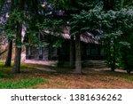 ukrainian wooden black house in ... | Shutterstock . vector #1381636262