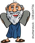 moses with the ten commandments.... | Shutterstock .eps vector #138164756