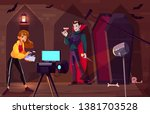 filming movie or clip about... | Shutterstock .eps vector #1381703528