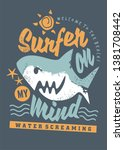 surfing tee shirt graphic with... | Shutterstock .eps vector #1381708442