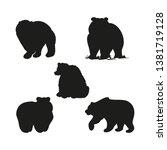 black bear silhouette  set of... | Shutterstock .eps vector #1381719128