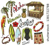 vector surfing tropical summer... | Shutterstock .eps vector #1381722788