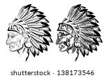 american indian chief tattoo | Shutterstock .eps vector #138173546