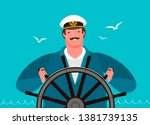 sailor at the helm of the ship. ... | Shutterstock .eps vector #1381739135