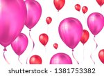 glossy pink color flying helium ... | Shutterstock .eps vector #1381753382