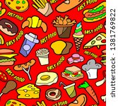 fast food. seamless pattern... | Shutterstock .eps vector #1381769822