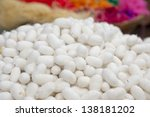 Silk Production Process, Silkworm from egg to worm - stock photo