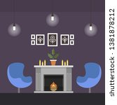 living room with fireplace... | Shutterstock .eps vector #1381878212