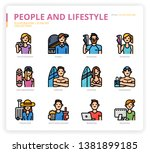 people and lifestyle icon set... | Shutterstock .eps vector #1381899185