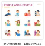people and lifestyle icon set... | Shutterstock .eps vector #1381899188