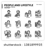 people and lifestyle icon set... | Shutterstock .eps vector #1381899935