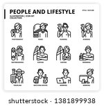 people and lifestyle icon set... | Shutterstock .eps vector #1381899938