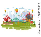 amusement park circus carnival... | Shutterstock .eps vector #1381903112