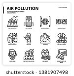 air pollution icon set for web... | Shutterstock .eps vector #1381907498
