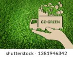 paper cut of green city concept ... | Shutterstock . vector #1381946342