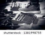 foot stepping on a guitar pedal ... | Shutterstock . vector #1381998755
