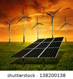 solar panels and wind turbine... | Shutterstock . vector #138200138