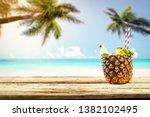 fresh pineapple and summer... | Shutterstock . vector #1382102495