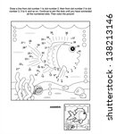 Connect the dots picture puzzle and coloring page, underwater life themed, with fish, seabed, algae, bubbles and little crab. Answer included. For high res JPEG or TIFF see image 138213149