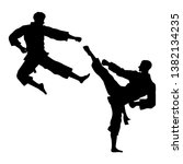 martial arts  silhouette of two ... | Shutterstock .eps vector #1382134235