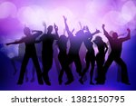 silhouette of people dancing on ... | Shutterstock .eps vector #1382150795
