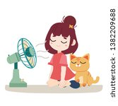 a girl and cute cat feel hot.... | Shutterstock .eps vector #1382209688