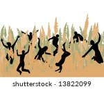 people jumping in the grass | Shutterstock .eps vector #13822099