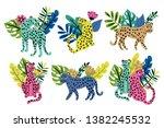 tropical summer cute leopard... | Shutterstock .eps vector #1382245532