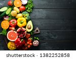 fresh fruits  vegetables and...   Shutterstock . vector #1382252858