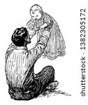 a father has holding baby in... | Shutterstock .eps vector #1382305172