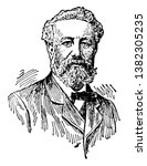 Jules Verne, 1828-1905, he was a French novelist, poet, and playwright, vintage line drawing or engraving illustration