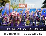 Small photo of Bangkok, Thailand - April 27, 2019 : A photo of Avengers movie standee displayed outdoor to promote the last episode : Avengers Endgame, Marvel superhero movie.