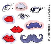 colored cartoon eyes  lips and... | Shutterstock .eps vector #138243812