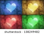 colored hearts design  a blue ... | Shutterstock . vector #138249482
