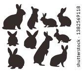 rabbit hare logo icon set | Shutterstock .eps vector #1382569118