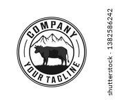 angus farm and mountain logo.... | Shutterstock .eps vector #1382586242