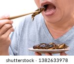 Food insects  man eating...