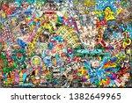 cool music graffiti in urban... | Shutterstock . vector #1382649965