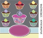 set of cupcakes with ribbon and ... | Shutterstock .eps vector #138266246