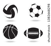 black and white icons of  balls ...