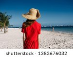 woman in a hat in a red dress... | Shutterstock . vector #1382676032