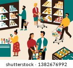men and women buying products... | Shutterstock .eps vector #1382676992