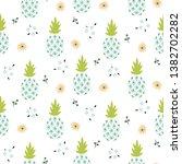 floral pineapple light blue...   Shutterstock .eps vector #1382702282