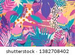 tropical jungle leaves and...   Shutterstock .eps vector #1382708402