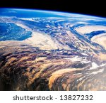 Mountains in Pakistan from space - stock photo