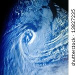 Tropical cyclone over Atlantic ocean - stock photo