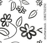 black and white seamless floral ... | Shutterstock .eps vector #1382732252