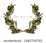 olive wreath. colorful vector... | Shutterstock .eps vector #1382735732