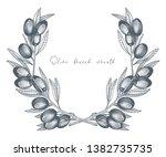 olive wreath. vector... | Shutterstock .eps vector #1382735735