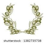 olive wreath. vector... | Shutterstock .eps vector #1382735738